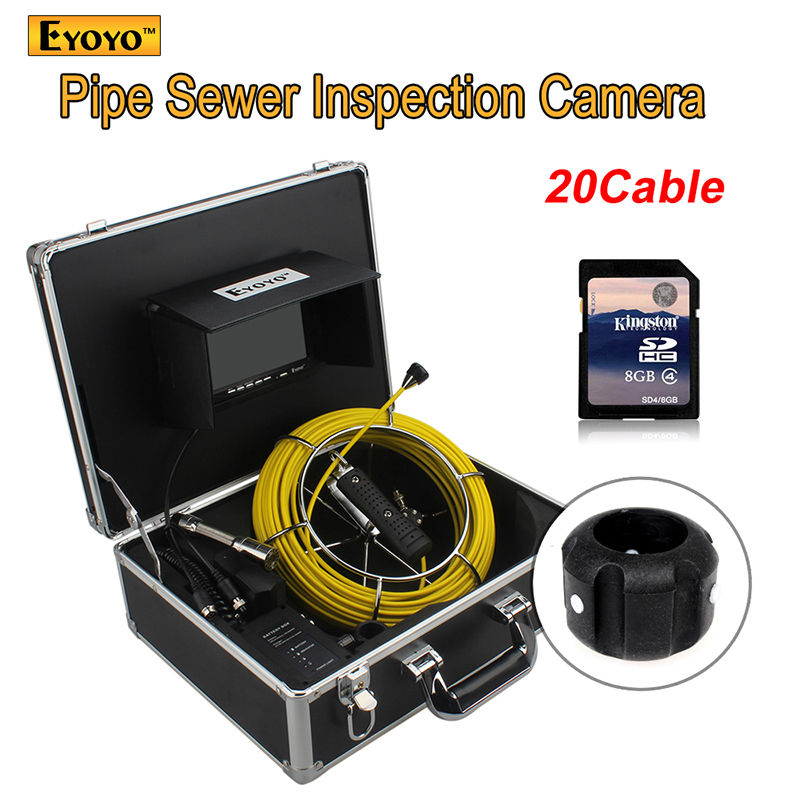 Free shipping!20M Sewer Waterproof Camera 7 LCD Drain Pipe Pipeline Inspection System with DVR eyoyo 7 lcd screen 20m 800 480 1000tvl 4500mah sewer drain camera pipe wall inspection endoscope w keyboard dvr recording 8gb