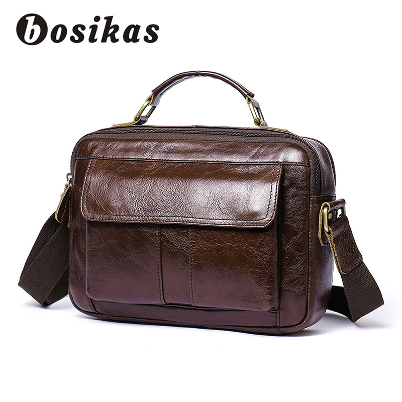 BOSIKAS Men Briefcases Bag Genuine Leather Crossbody Bags Messenger Totes Leather Handbags Laptop File Bag Zipper Shoulder Bags black genuine leather men bag laptop briefcases handbags men shoulder bag strap crossbody bags messenger bags men leather totes