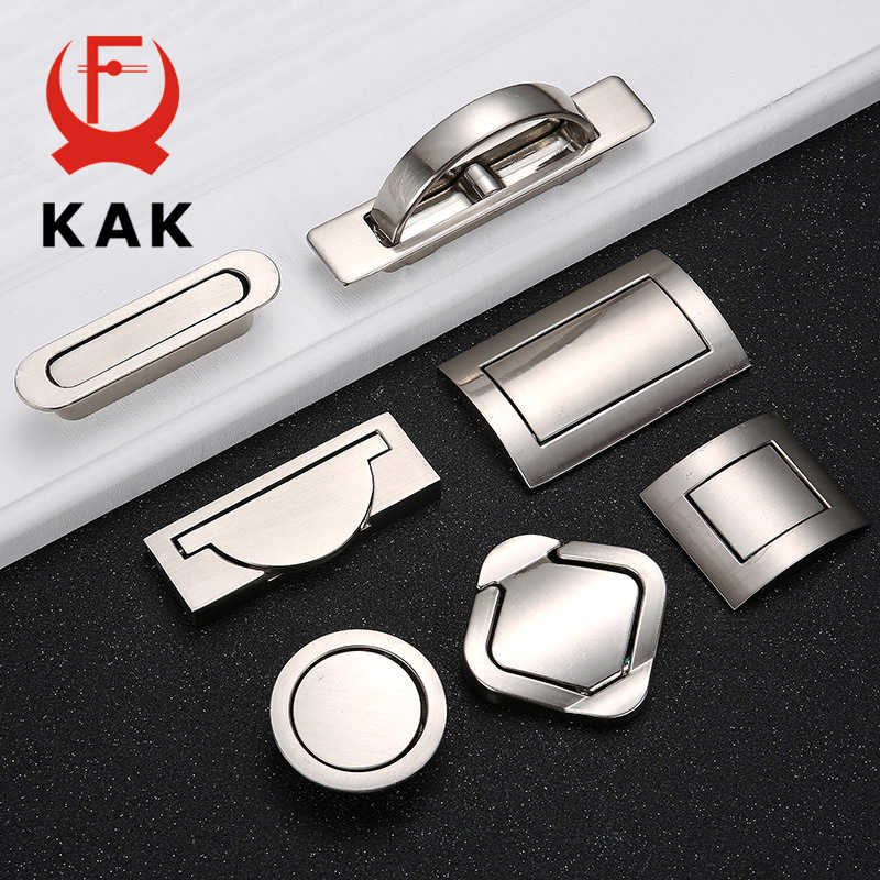 KAK Tatami Hidden Door Handles Zinc Alloy Recessed Flush Pull Cover Floor Cabinet Handle Silver Black Furniture Handle Hardware