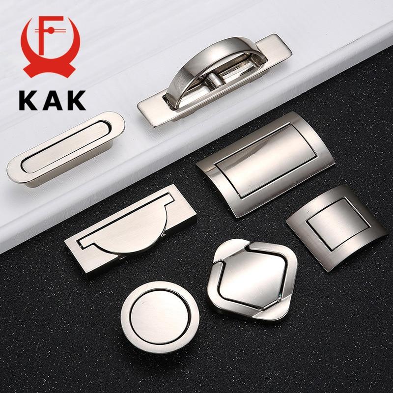 KAK Tatami Hidden Door Handles Zinc Alloy Recessed Flush Pull Cover Floor Cabinet Handle Silver Black Furniture Handle Hardware