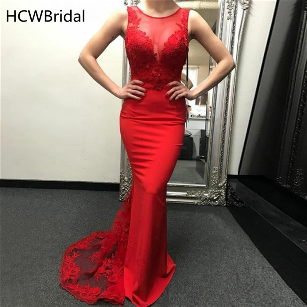 Elegant Long Red   Evening     Dress   Sweep Train Illusion Lace Appliques Simple Mermaid Party   Dresses   2019 High Quality Women Gowns