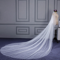 Fishday Bridal Wedding Veil In Stock Simple Girls Long Cheap Real White Cathedral Accessories Woman Femme Sale Without Clip D30