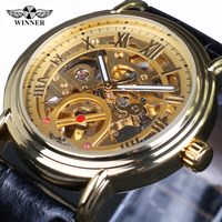 Winner 2017 Fashion Black Golden Star Luxury Design Clock Mens Watch Top Brand Luxury Mechanical Skeleton
