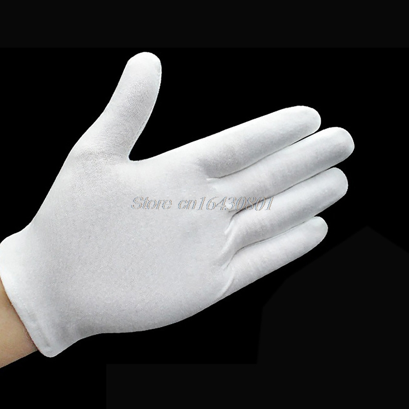 12 Pairs White Inspection Cotton Lisle Work Gloves Lightweight New G08 Drop ship