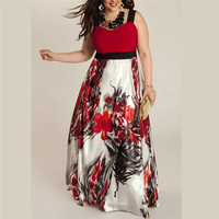 Floral Printed Plus Size Women Maxi Dress High Waist O Neck Sleeveless Splicing Spaghetti Strap Fit and Flare Female Dresses