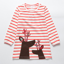 цена на New 2018 Fashion 2y-6y Baby Girls Dress Cute Deer Long Sleeve Cotton Polka Dots Striped Top Children For Girl Clothes
