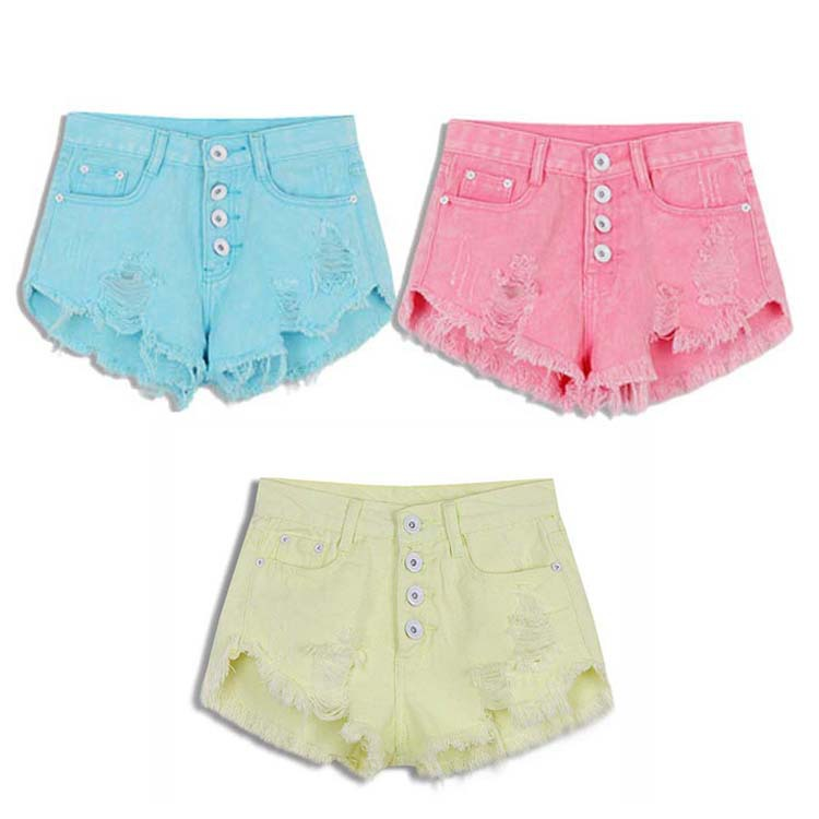2017 New Women Jeans Summer Candy Colors High Waist Hole Shorts Loose Combinaison Short Casual Girl