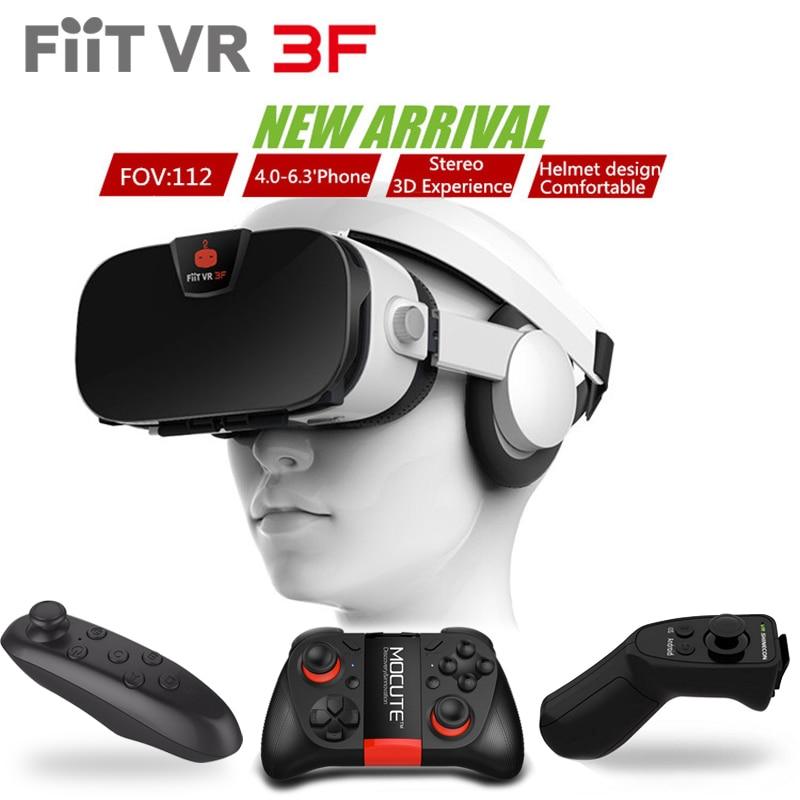 Original FIIT VR 3F Headset version Virtual Reality 3D Glasses Google Cardboard VRBOX BOBOVR+<font><b>Bluetooth</b></font> Gamepad Controller Remote