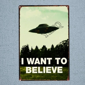 I Want To Believe UFO Tin Sign Alien Vintage Placas Decorativas Wall...