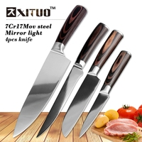 7CR17Mov Stainless Steel Kitchen Knives 8 Inch Santoku Knife Double Steel Head Color Wooden Handle Chef