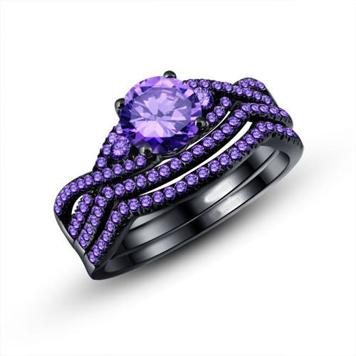 RN3045 Turkish Engagement Couple Rings Purple Cubic Zirconia Black