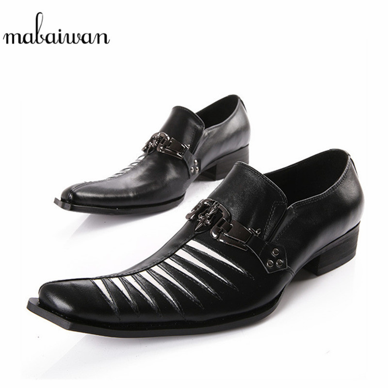 Mabaiwan Fashion Italian Black Men Shoes Cross Metal Buckle Party Dress Shoes Men Genuine Leather Flats Slip On Oxfords Shoes red patent leather man dress shoes fashion slip on oxfords for men genuine leather punk buckle chain formal party wedding shoes