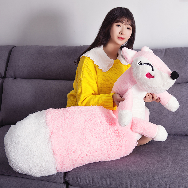 160cm Cute pink fox plush toys sleep pillow stuffed cushion fox doll birthday gift for Children Animal Stuffed Toy children s toys plush fox doll toy gifts stuffed animal simulation red foxes dolls