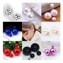 Imitation Pearl Double Ball Drop Earrings Classic Epoxy Pendant for Women