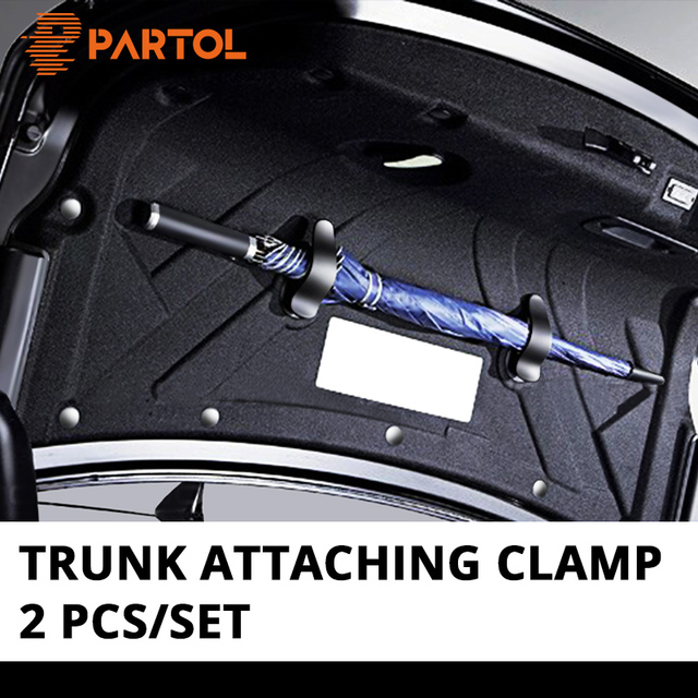 Partol 2pcs Car Trunk Mounting Bracket Umbrella Clips Automobile Trunk Organizer for Umbrella Installation on Inner Plastic Case