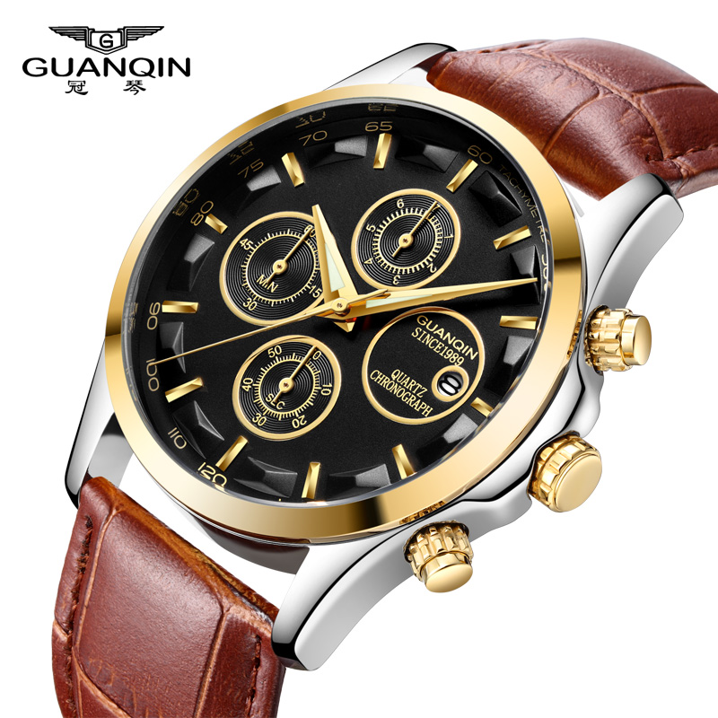 GUANQIN Mens Watches Quartz 2018 Brand Luxury Sport Watch Waterproof Leather Clock Male Chronograph Wristwatch Relogio Masculino oulm mens designer watches luxury watch male quartz watch 3 small dials leather strap wristwatch relogio masculino