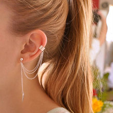 1 Pc New Fashion Personality Metal Ear Clip Leaf Tassel Earrings Pendientes Ear Cuff Women Caught In The Ear Cuffs Jewelry(China)