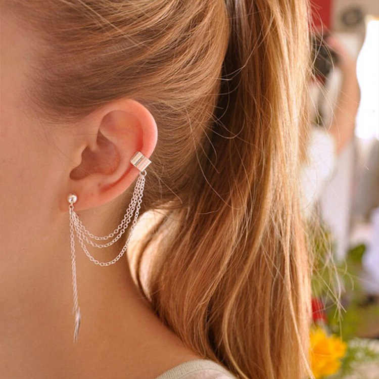 1 Pza nueva moda personalidad Metal oreja Clip hoja borla Pendientes oreja brazalete mujeres atrapadas en los puños de la oreja joyería