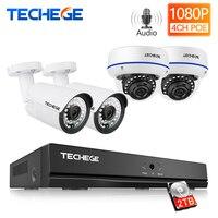 Techege 4CH 1080 P H.265 POE NVR аудио-видео-система 2MP для дома и улицы IP Камера Водонепроницаемый по электронной почте, спровоцированное перемещением ви...