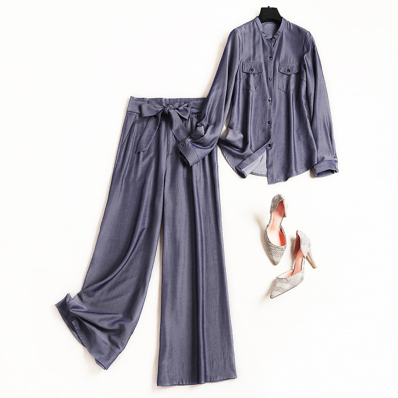 Women brief denim stand neck long sleeve jeans shirts tops + bow sashes wide leg long pants suits 2 piece set new 2019 spring