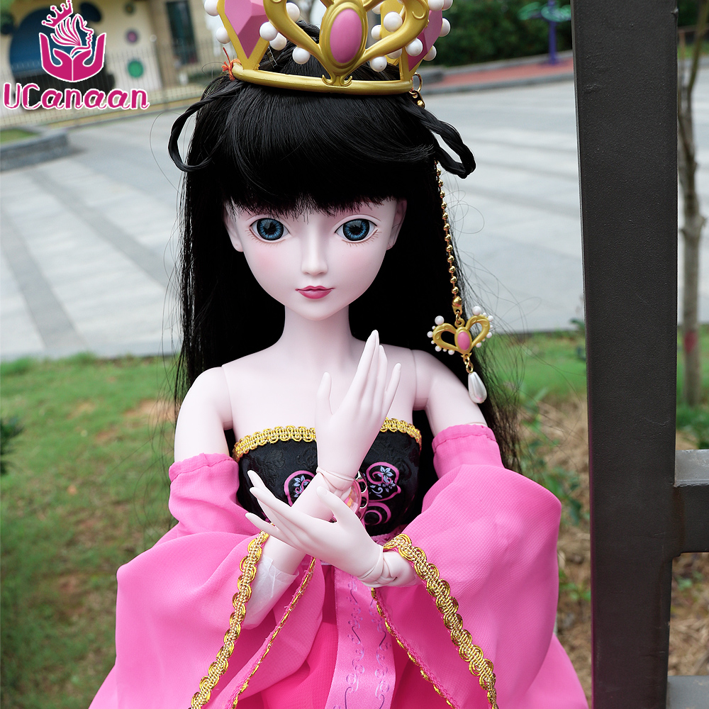 UCanaan 24'' 1/3 BJD Doll Chinese Style Girls SD Dolls For Children DIY Dressup 19 Ball Jointed Body With Full Outfits Kids Toys 24 full set bjd doll devil manager men chinese manager ball jointed dolls sd doll toy boyfriend boy gift for boy children