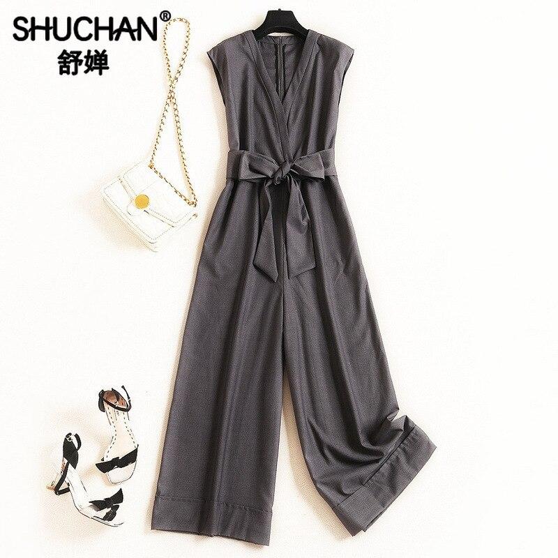 Shuchan barboteuse femmes combinaisons bureau dame ceintures solide femmes body mode Nova femme v-cou femmes vêtements 2019 51872