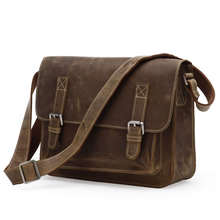 Hot Selling Men's Bags Brown Color Genuine Leather Shoulder Bag Crazy Horse Leather Men Messenger Bags Crossbody Bags #MD-J7089