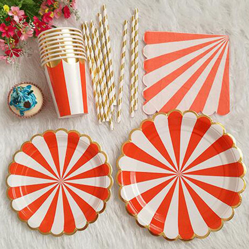 Disposable Paper Tableware sets Striped For Wedding Decor Girl Boy Birthday Party Baby Shower Paper Plates Paper Drinking Straws