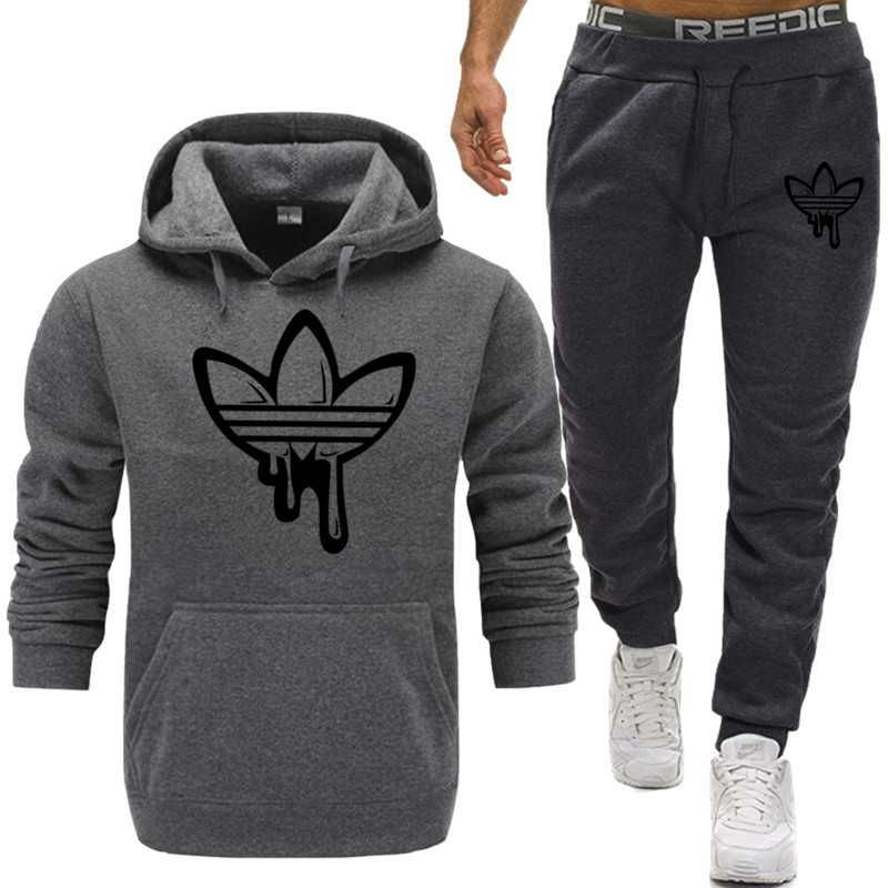 Men Two Pieces Set New Fashion Hooded Sweatshirts Sportswear Men Tracksuit Hoodie Autumn Men Brand Clothes Hoodies+Pants Sets