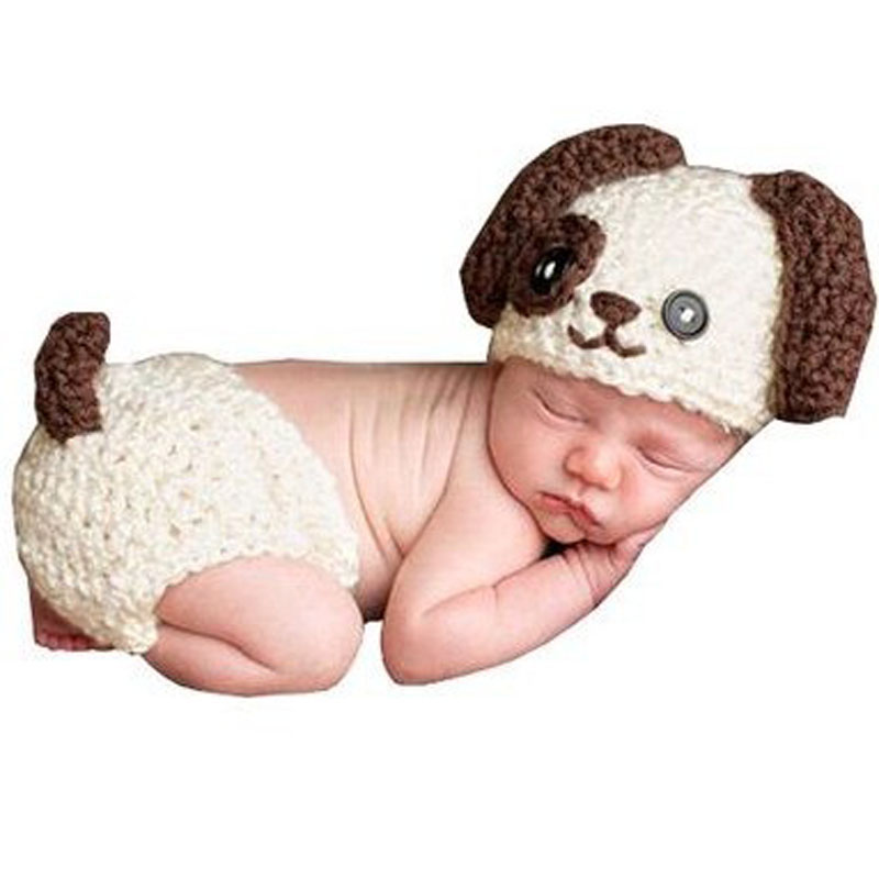 1 Set Newborn Infant Baby Boys Girls Knit Crochet Photography Photo Props Hat Big Ear Dog Modelling Hats Diaper Costume Outfit In Caps From Mother
