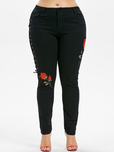 Black Floral Side Lace Up Pencil Jeans