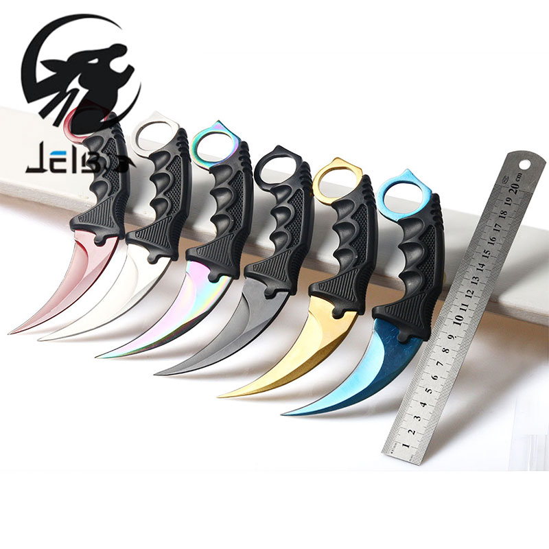 Jelbo Karambit Knife with Sheath Tactical Survival Tools Knife Combat Fight Outdoor Hunting Knife Self Defense Offensive