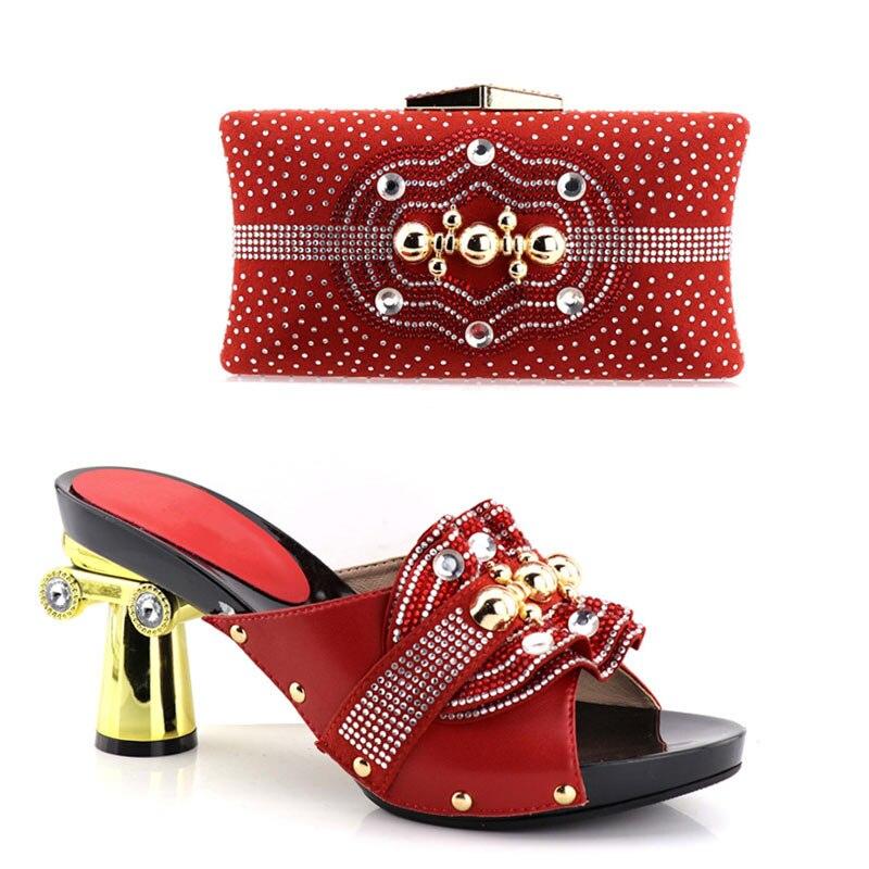 Rhinestone Wedge Heel Satin Wedding Bridal Shoes & Bag Set