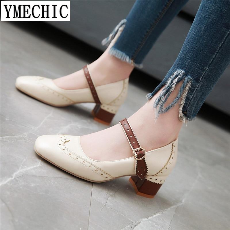 Ymechic 2018 New Sweet Buckle Mary Jane Medium Heel Shoes -7143