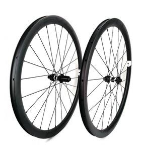 Image 4 - EVO 38mm derinlik yol bisiklet fren diski karbon tekerlekler 25 genişlik Tubeless cyclocross karbon tekerlekler et merkezi kilit disk fren hub