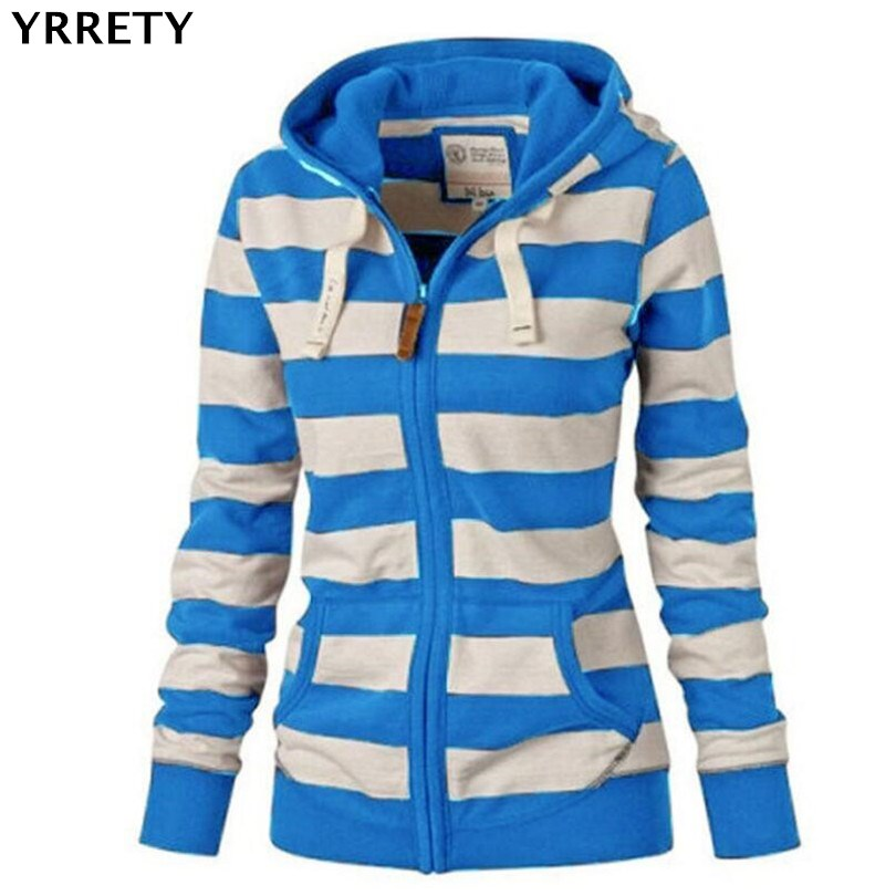 YRRETY Spring & Autumn Women   Basic     Jackets   Hooded Outerwear Striped Printed   Jacket   Casual Coat Ladies Loose Outwear Plus Size