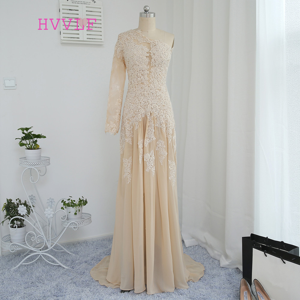 2019 Mermaid One-shoulder Long Sleeves Champagne See Through Appliques Long   Evening     Dresses     Evening   Gown Prom   Dresses   Prom Gown
