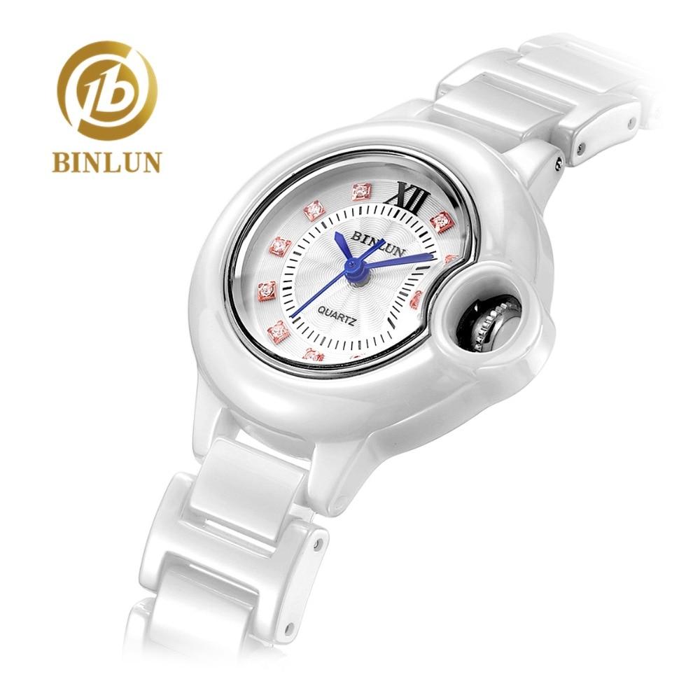 BINLUN Top Design Ballon Bleu De dames montre à Quartz élégante De luxe dîner Bracelets bijoux montre pour femme montre-bracelet blanche Pure