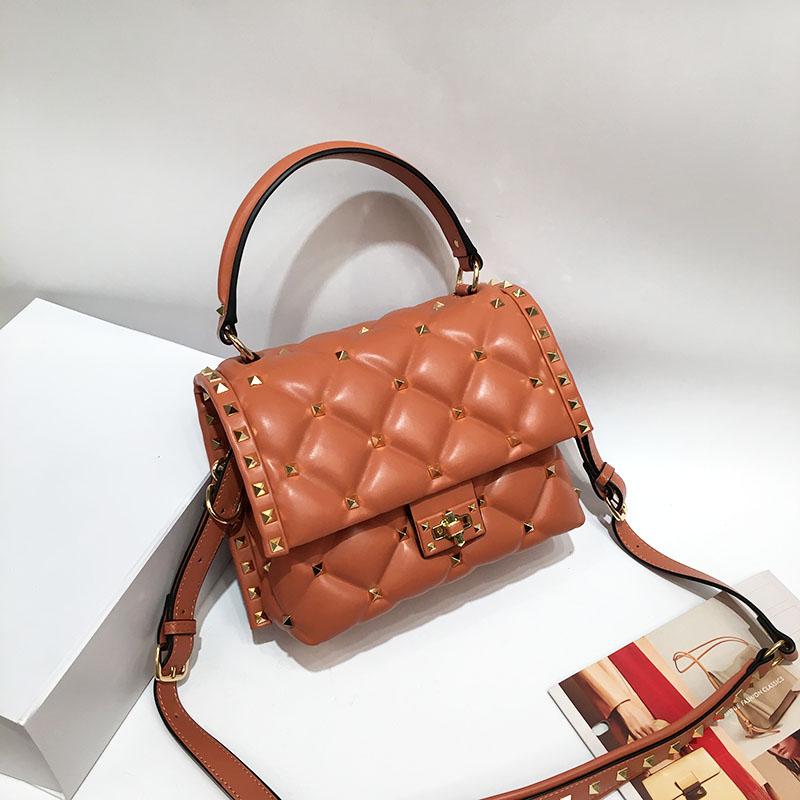 Luxury Famous Designer Brand Women Sheepskin Leather Handbags High Quality Genuine Leather Shoulder Bags Rivet Messenger