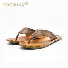 [KRUSDAN]Brand Summer Style Genuine Leather Men Sandals, Brand High Quality Retro Beach Flip Flops Men, Casual Sandals For Men