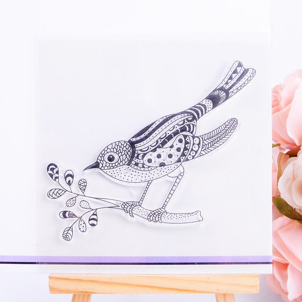 DECORA 1PCS Gift Bird Design Silicone Transparent Clear Stamp DIY Scrapbooking Stamping Christmas Decoration Supplies