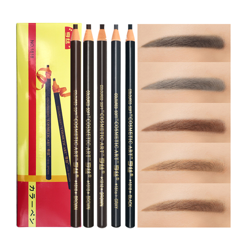 12 PCS/Lot 5 Colors 1818 Long Lasting Eyebrow Pencil Waterproof Eye Brow Pen Makeup Tool Dark/Light Coffee Black Grey Red-Brown