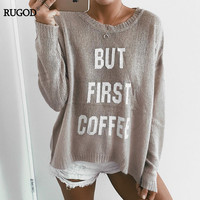 Rugod 2017 New Korean Letter Print Knitted Sweater Women O Neck Long Sleeve Cotton Pullovers Casual