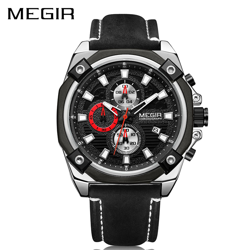 MEGIR Men Sport Watch Relogio Masculino Chronograph Quartz Top Brand Luxury Military Army Watches Clock Men Leather Reloj Hombre malloom 2018 clock men luxury brand watch wristwatch men brand sport with leather reloj hombre relogio masculino fashion watch