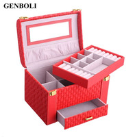 Hot Jewelry Packaging Box Casket For Jewelry Exquisite Makeup Case Rings Organizer Container Boxes Birthday Gifts