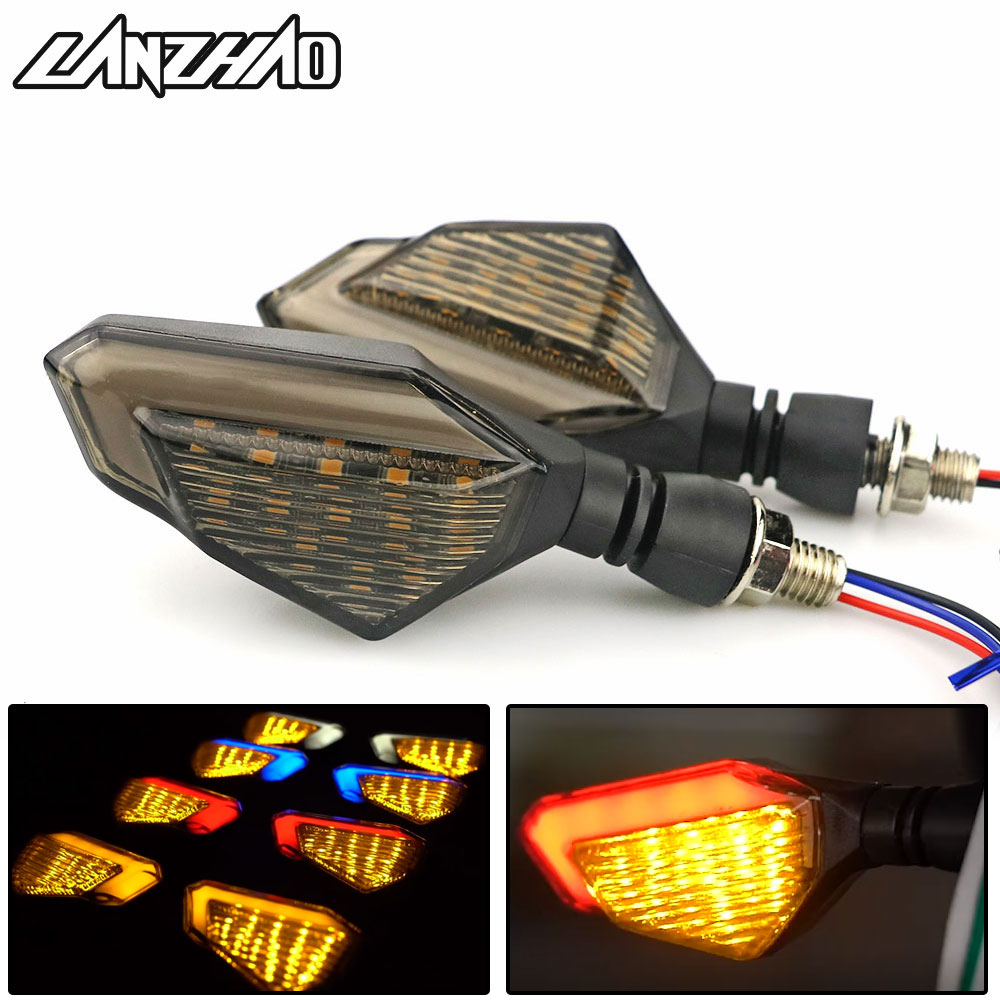 Pair Motorcycle LED Turn Signal Lamps Left Right Signals Daytime Running Lights Indicators Blinkers Universal For Honda Kawasaki