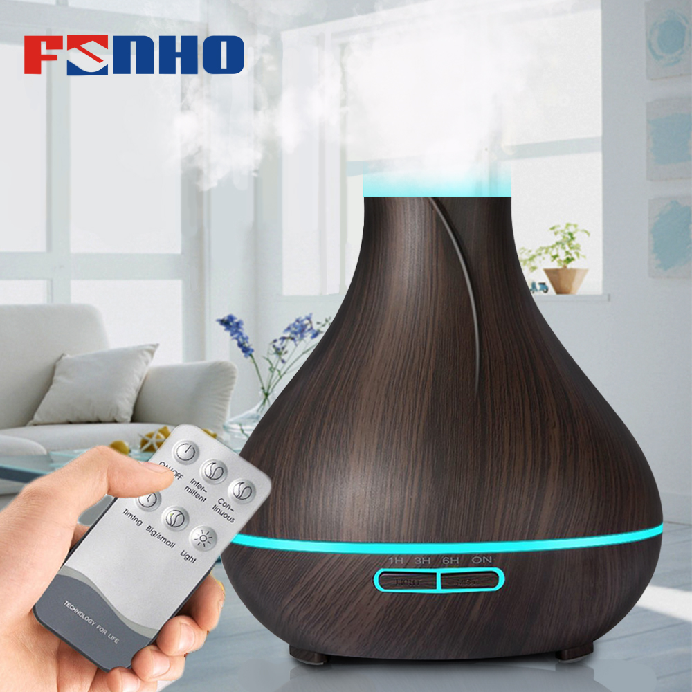 FUNHO 400ml Deep Wood Cool Air Aromatherapy Ultrasonic Humidifier Air Conditioning Mist Maker Difusor Aromaterapia For Home floor style humidifier home mute air conditioning bedroom high capacity wetness creative air aromatherapy machine fog volume