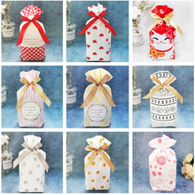50 Pcs Multi Style Drawstring Sweet Biscuit Packaging Plastic Bag Ribbon Candy Party Birthday Wedding Gifts Bags