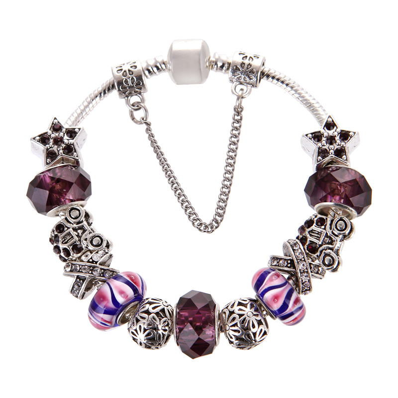 European Style Vintage Silver plated Purple crystal Charms Noble Fashion Elegant Pandora Bracelet For Women/Gril gift jewelry