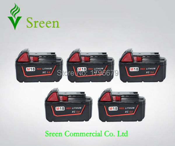5pcs Spare 5000mAh Lithium Ion Rechargeable Power Tool Battery Replacement for Milwaukee 18V M18 XC 48-11-1828 M18B2 C18B M18BX replacement power tooll battery for milwaukee 18 volt 4 0ah 48 11 1828 m18 xc red lithium high capacity battery